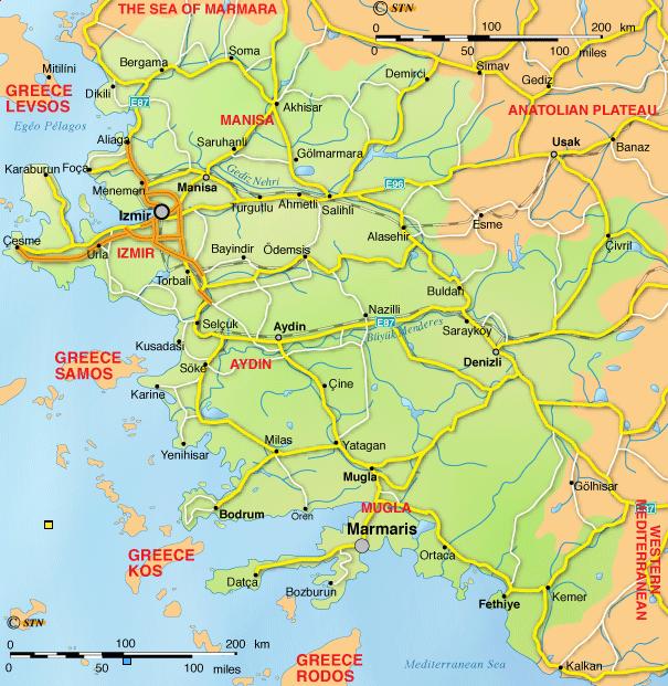 Ege Bölgesi haritası