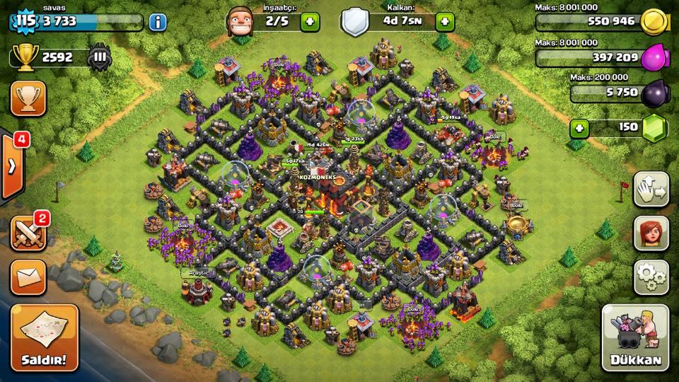 clash of clans 10 seviye köy binası